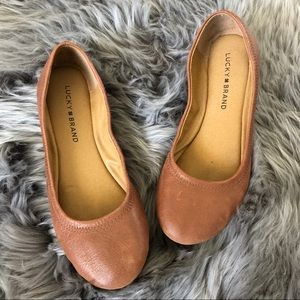 Lucky 🍀 Brand Leather Ballet Flats Brown Erin 7